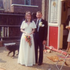 This was the day my sister got married, but it does bring me many memories of the back doorstep and having to shell peas, you can see it's very worn, I have no idea why, and I don't remember it being Red, but clearly it was!