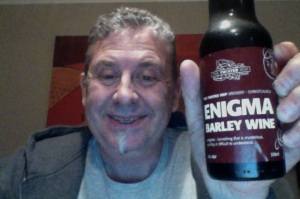 Looking old, worn out and a bit fuzzy here I am brandishing the beer, like a shield.