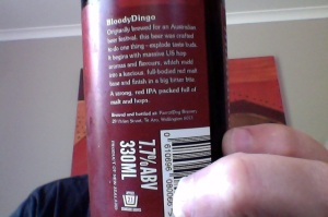 the label says ....  Strong Red IPA