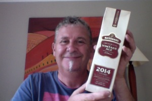 Old Bloke with Ale in a carton